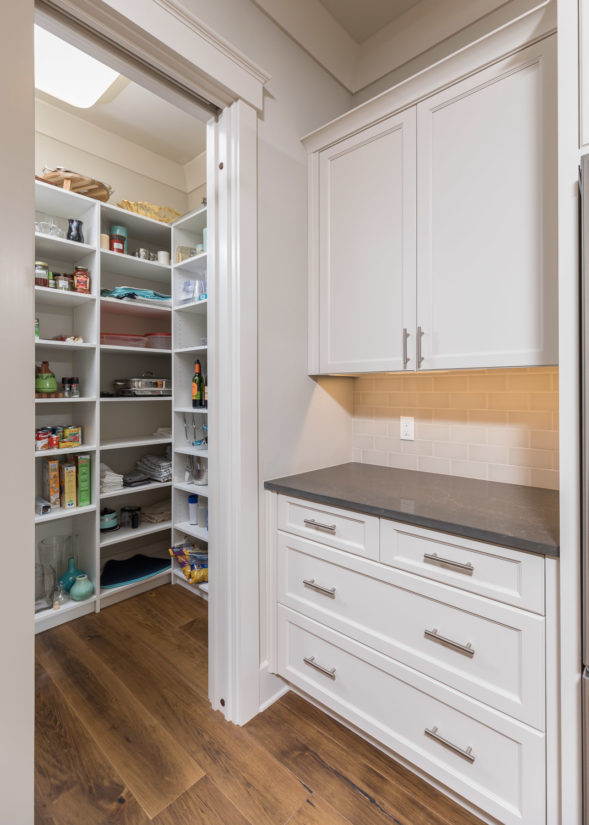White pantry with adjustable shelving
