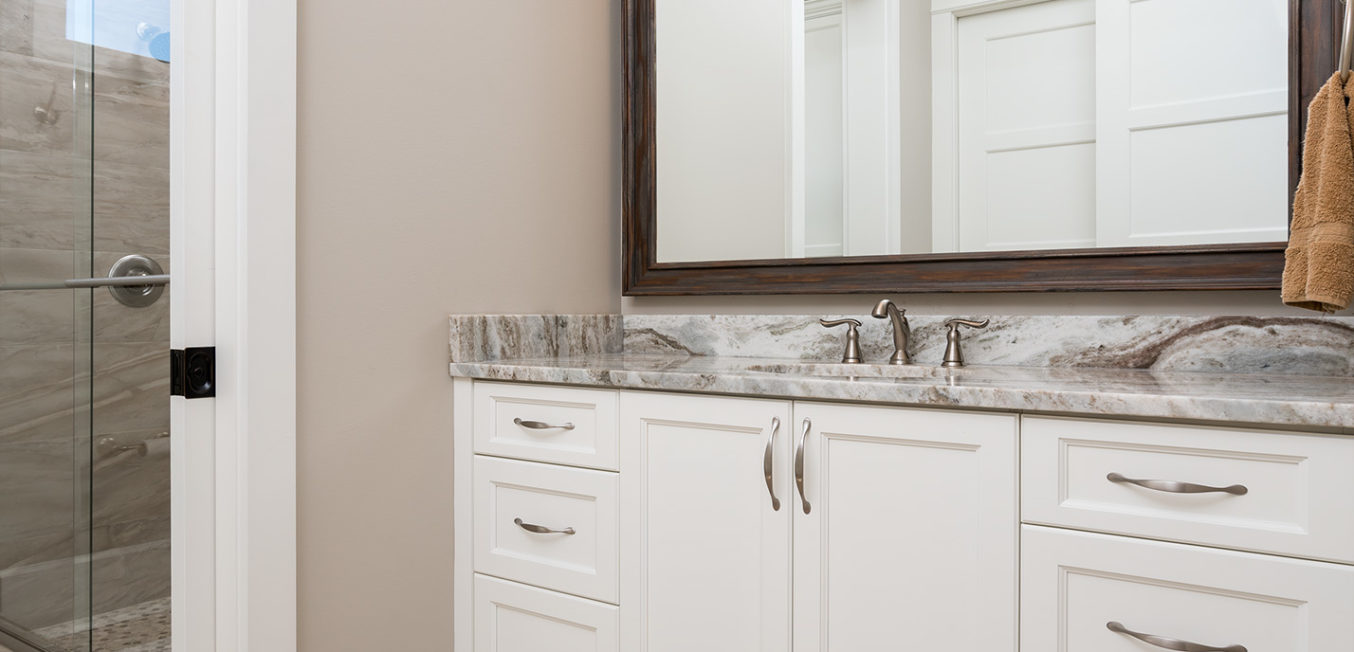 White full overlay bathroom vanity with recessed panel door fronts