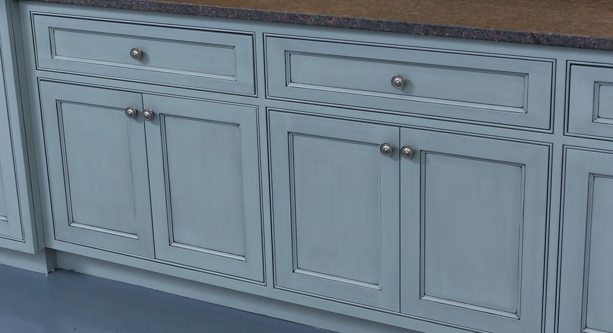 Blue Inset Shaker style custom cabinets
