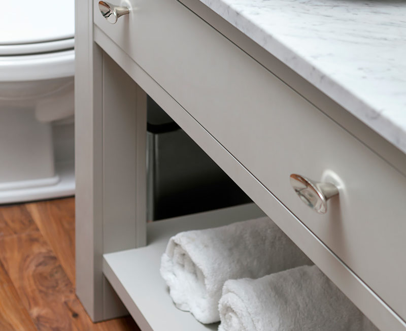 Inset Slab Drawer in a light gray white vanity