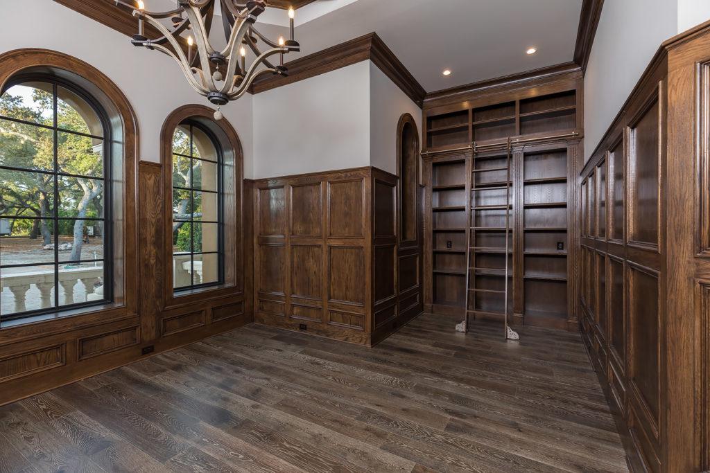 Wooden Bookshelves with Ladder