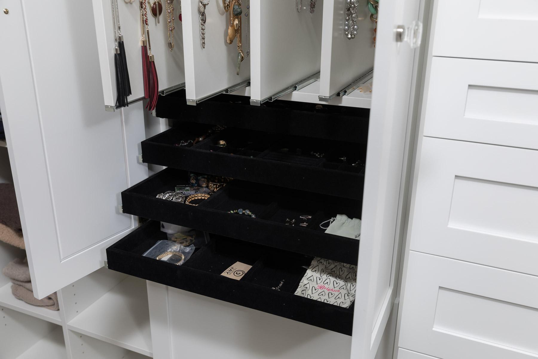 Master Closet, White cabinets, Jewelry Storage, Storage, Closet