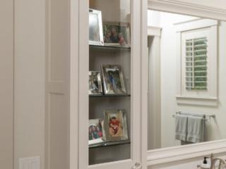 Master Bathroom Vanity with glass panel door