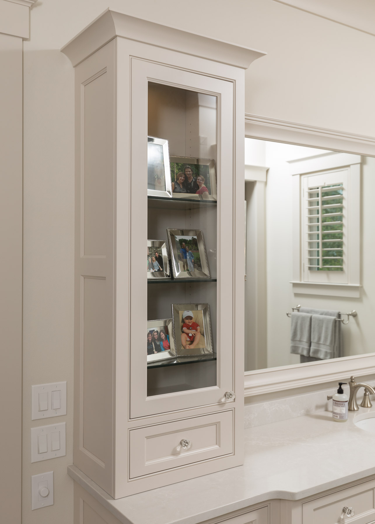 Master Bathroom Vanity with glass panel door