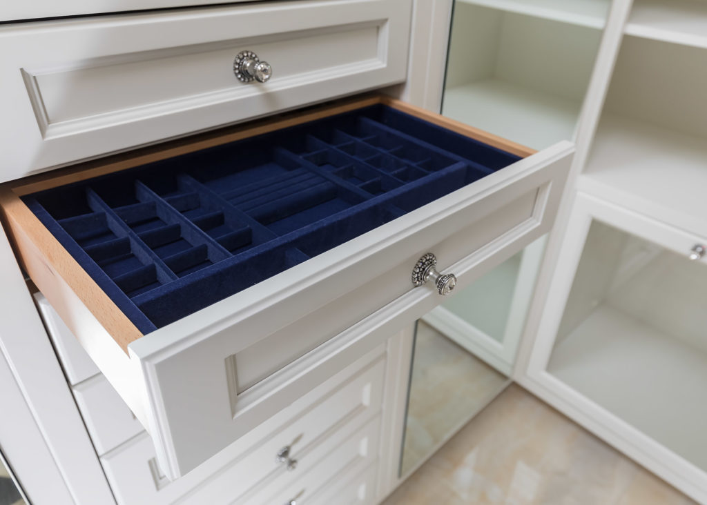Elegant White Closet Jewelry Drawer
