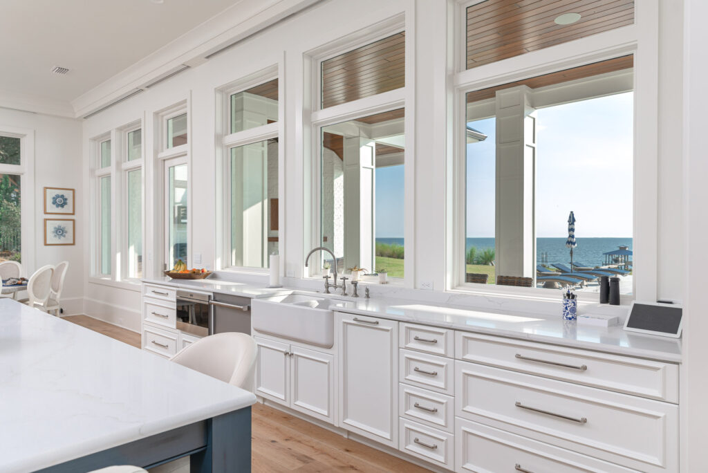 White and Blue Waterfront Kitchen